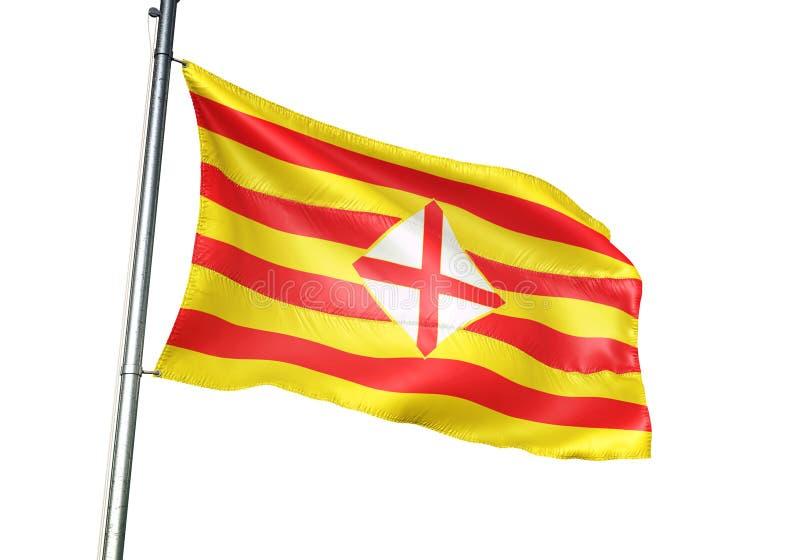 Провинция Барселоны развевать флага Испании изолированная на иллюстрации 3d белой предпосылки реалистической иллюстрация вектора