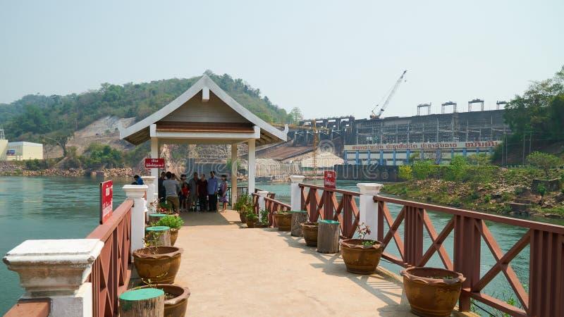 Провинция Вьентьян, Лаос - 8-ое апреля 2019: Запруда гидроэлектроэнергии N стоковая фотография