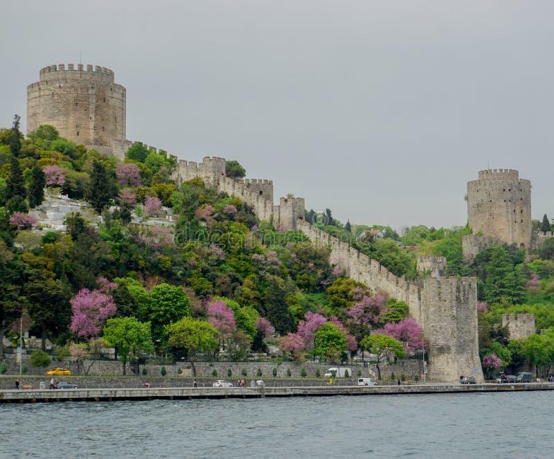 Провинция Стамбула, Стамбула/Турция: 19-ое апреля 2016: крепость Rumeli Hisari на проливе Стамбула в весеннем времени стоковое фото