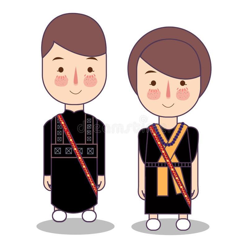 Провинция Bajawa Flores восточная Nusa Tenggara, одежды Индонезии традиционные национальные Индонезии характеры внутри иллюстрация вектора