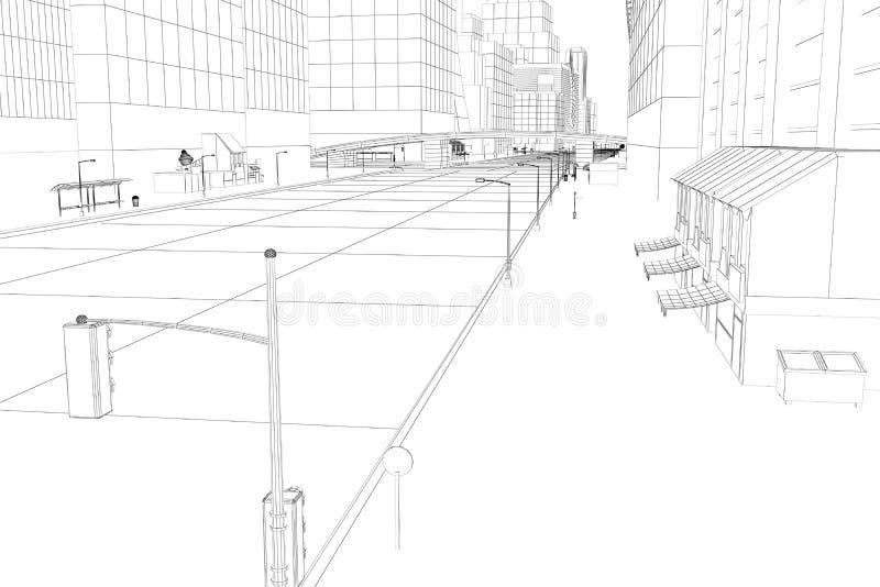 провод рамки города иллюстрация штока