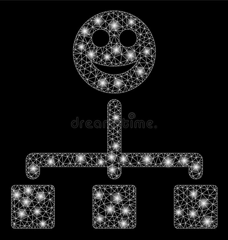 Провод сетки пирофакела обрамляет счастливую иерархию с засветками экрана иллюстрация штока