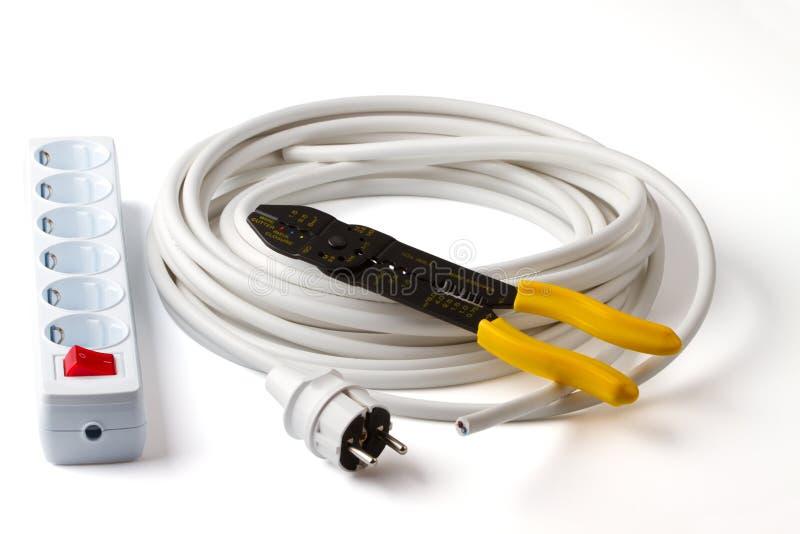провод стриппера гнезда электрической штепсельной вилки кабеля стоковые фотографии rf