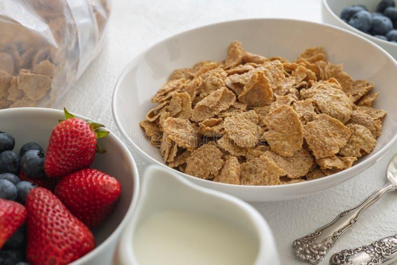 Провозглашанные тост хлопья овсяной каши с молоком и свежими ягодами, концом вверх, в белой предпосылке, взгляд сверху Хороший ис стоковые изображения