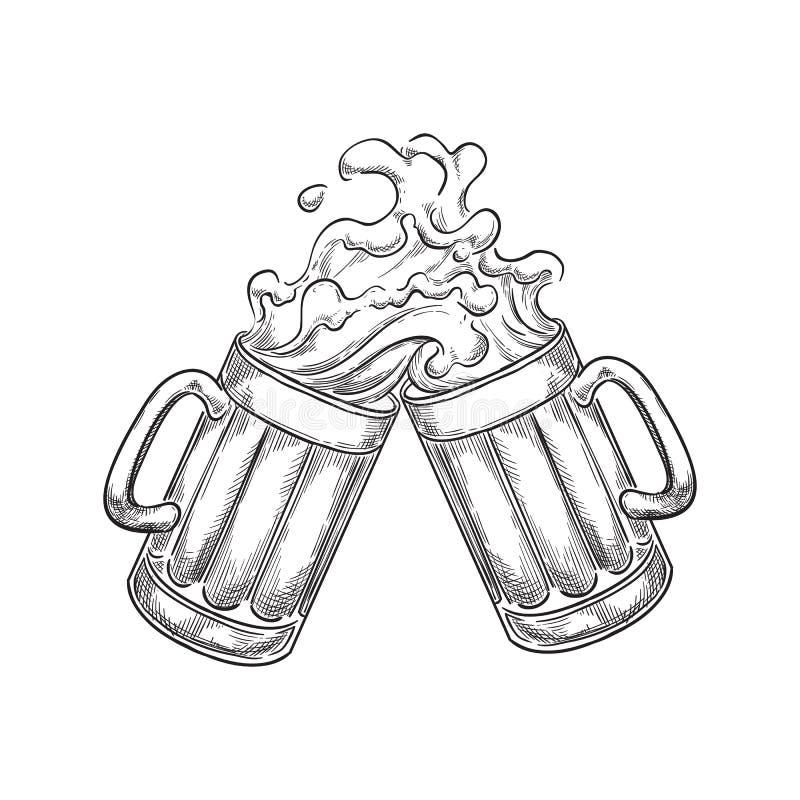 2 провозглашать кружки пива с выплеском выпивают, иллюстрация вектора эскиза Нарисованные рукой элементы дизайна ярлыка иллюстрация вектора