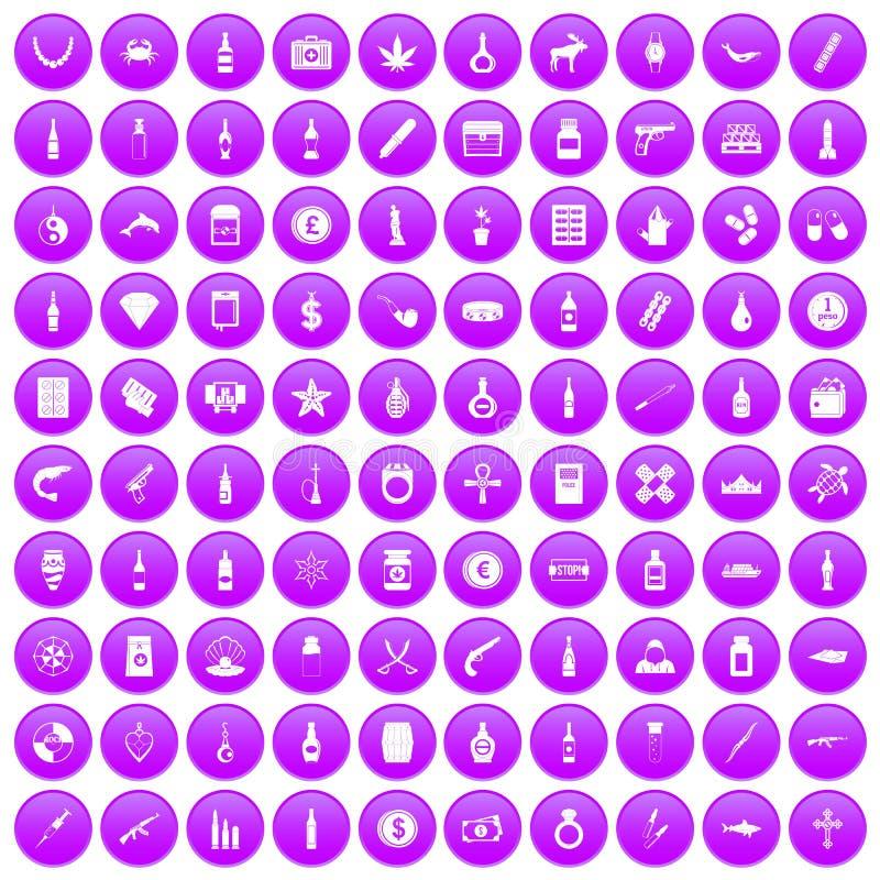 100 провозить установленных значков товаров фиолетовыми бесплатная иллюстрация