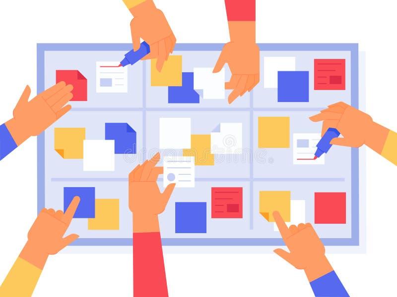 Проворная доска Задачи спринтов груды, kanban управление работы и статус проекта приоритета Задача стратегии бизнеса ежедневная иллюстрация вектора