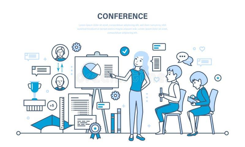 Проводить бизнес-конференции, статистический анализ финансовых показателей сообщает иллюстрация вектора
