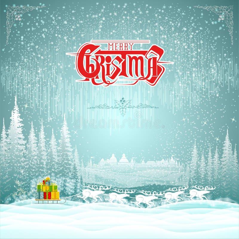 Проводка оленей с розвальнями присутствующих коробок на предпосылке рождества ландшафта зимы иллюстрация штока