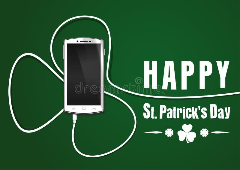 Провод телефона согнутый в форме клевера st patricks дня счастливый бесплатная иллюстрация