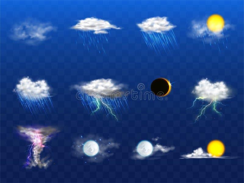 Прогноз погоды вектора 3d реалистический, элементы metcast иллюстрация штока