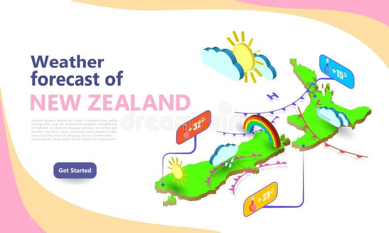 Прогноз погоды НЬЮ-ЗЕЛАНД Расположение значков набора иконок в стране Макет векторных виджетов метеорологической системы иллюстрация штока