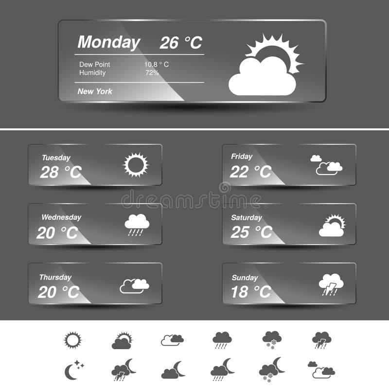 Прогноз погоды, приспособление, стеклянные знамена и символы иллюстрация вектора