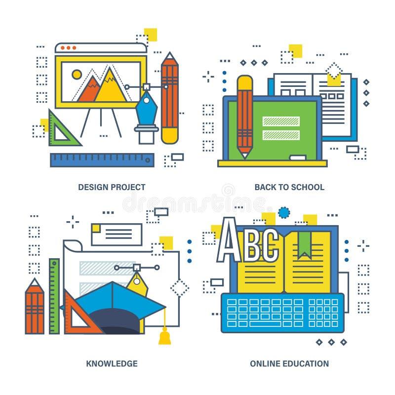 Программа концепции конечно, нововведение, тренировка дизайна, передвижной учить иллюстрация штока