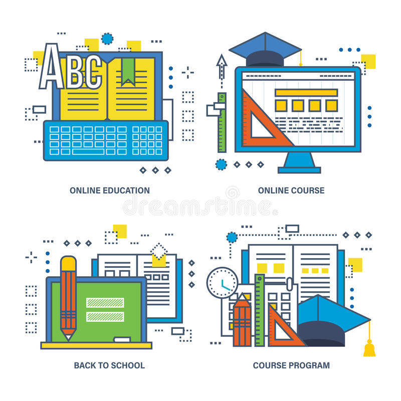 Программа концепции конечно, онлайн образование, назад к школе иллюстрация штока