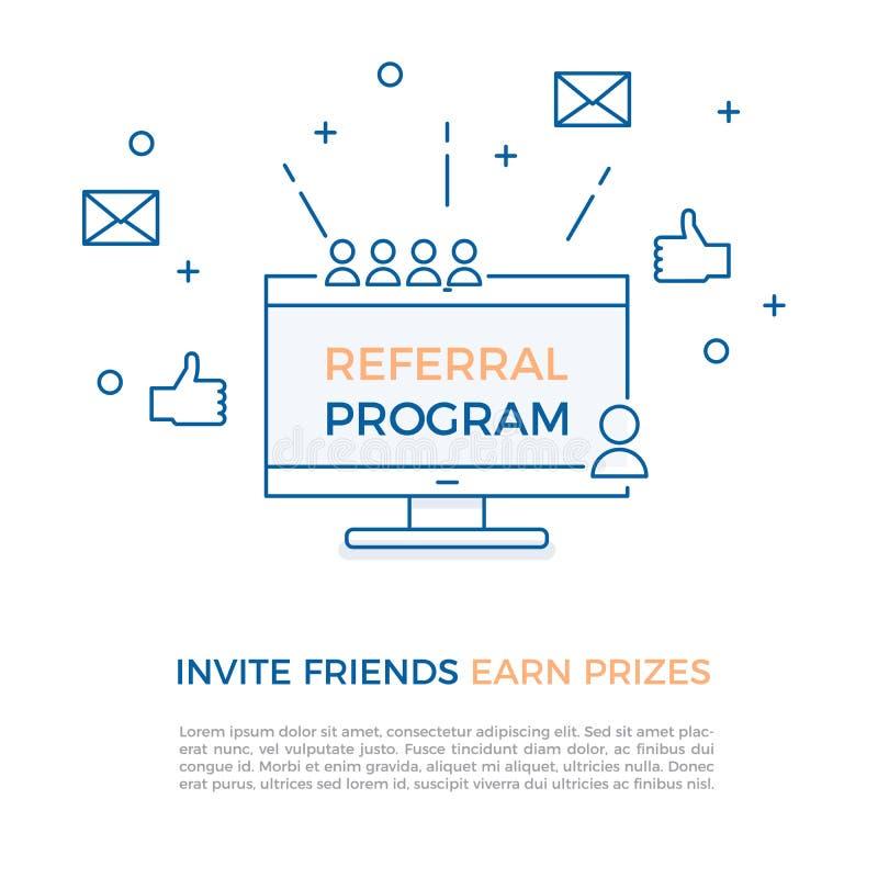 Программа направления, маркетинг присоединенного филиала, онлайн концепция дела Пригласите друзей, заработайте призы также вектор бесплатная иллюстрация