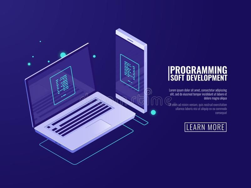 Программирование и развитие компьутерных программ, передвижного применения, компьтер-книжки и мобильного телефона с кодом на экра иллюстрация вектора