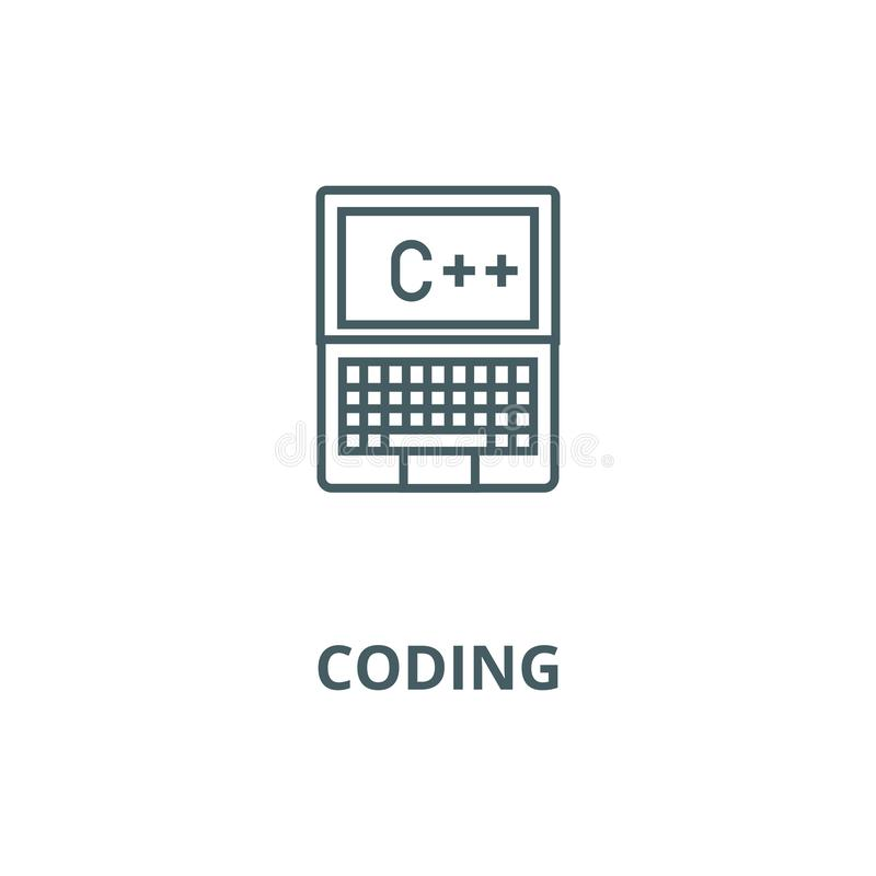 Программирование, кодирвоание, c плюс линия значок вектора, линейная концепция, знак плана, символ иллюстрация штока