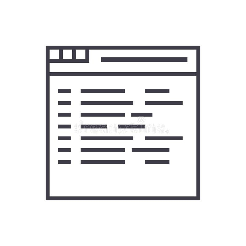 Программирование, кодируя линию значок вектора, знак, иллюстрация на предпосылке, editable ходах иллюстрация штока