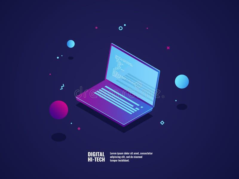 Программирование концепции применения и разработки программного обеспечения, компьтер-книжка с кодом программы на экране, иллюстр бесплатная иллюстрация