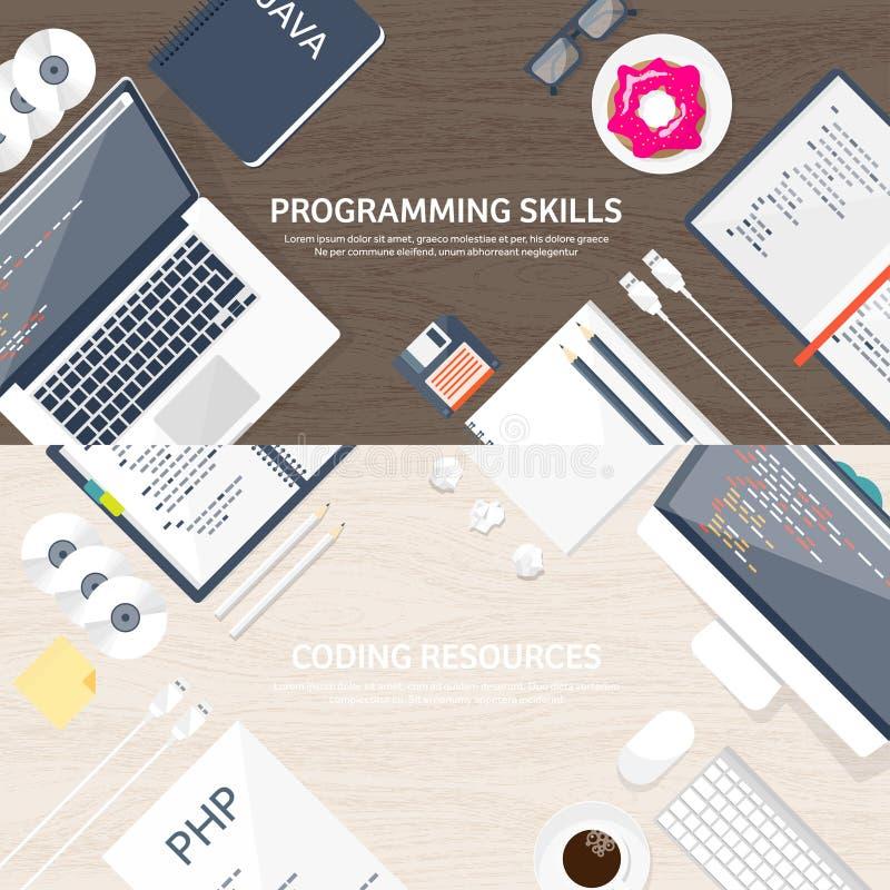 Программирующ и кодирующ плоскую вычисляя предпосылку Код, оборудование, программное обеспечение Развитие сети Поисковая система  иллюстрация штока