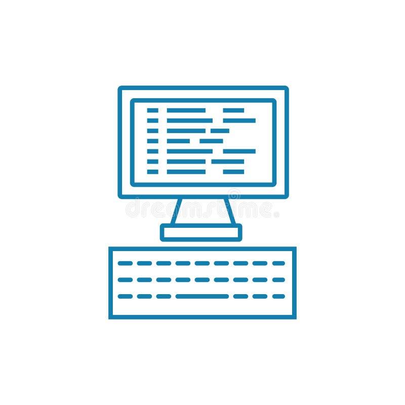 Программируя линейная концепция значка Линия программирования vector знак, символ, иллюстрация иллюстрация штока