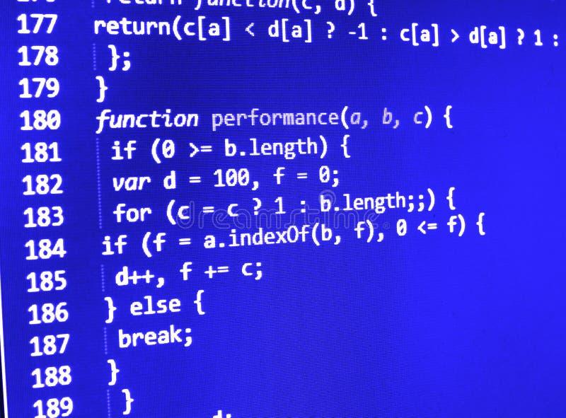 Программируя экран исходного кода кодирвоания стоковые фото