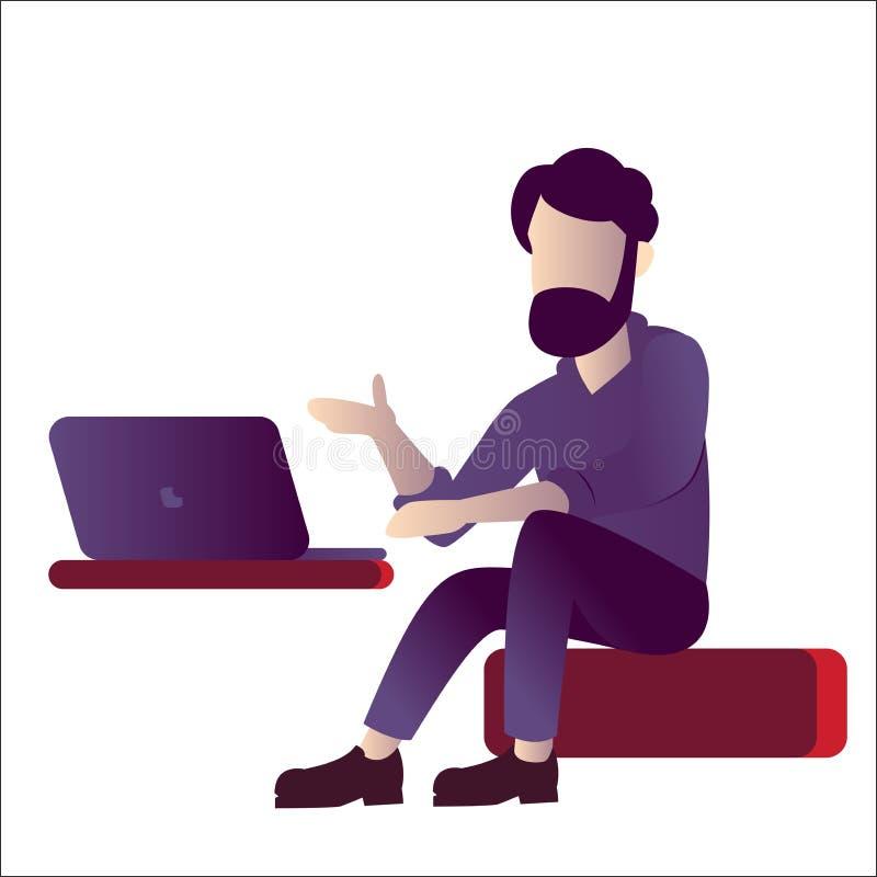 Программист или специалист по ИТ лекция по с ноутбуком, иллюстрацией вектора иллюстрация вектора
