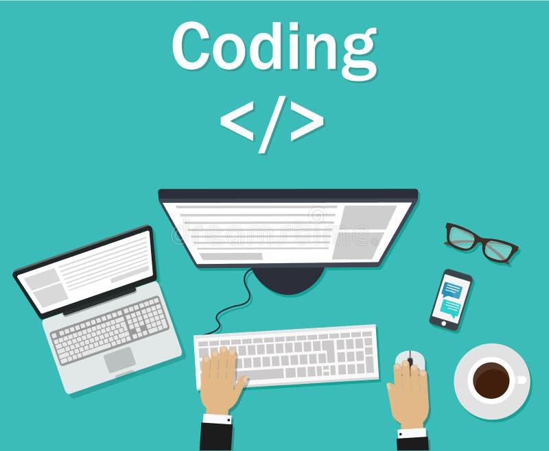 Программист, кодер в рабочем месте сидя на компьютере Кодирвоание программного обеспечения, языки программирования, испытание, от иллюстрация вектора