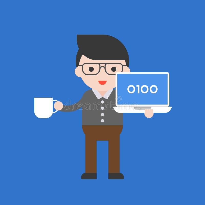 Программист, набор милого характера профессиональный, плоский дизайн иллюстрация штока