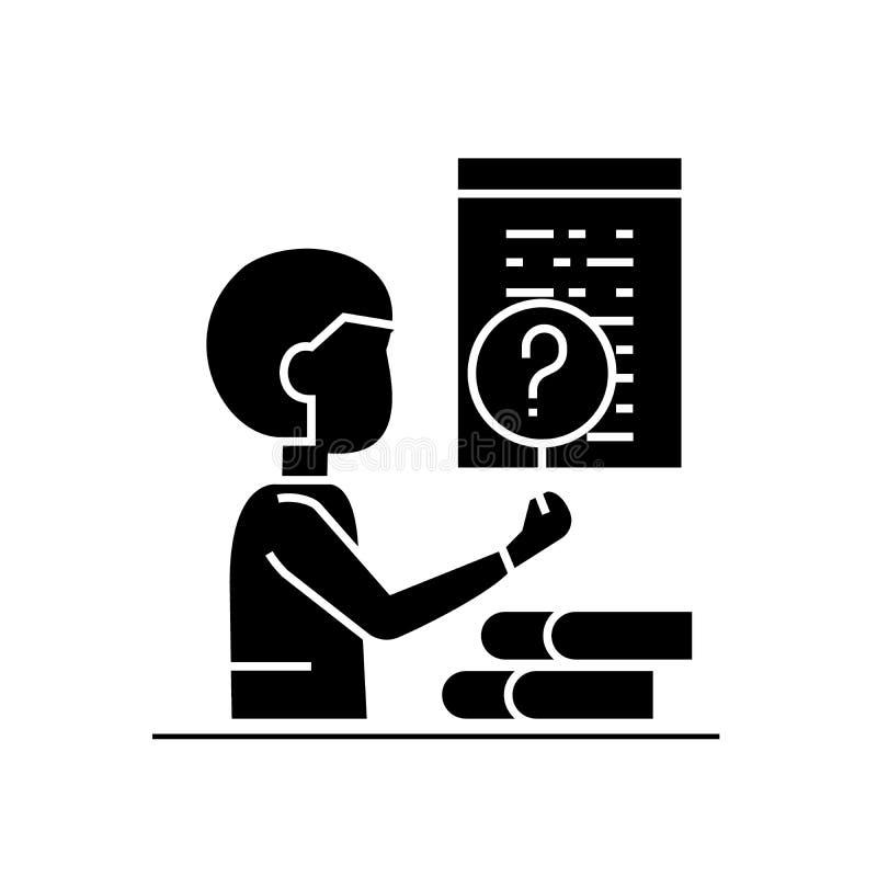 Программное обеспечение испытывая черный значок концепции вектора Программное обеспечение испытывая плоскую иллюстрацию, знак иллюстрация вектора