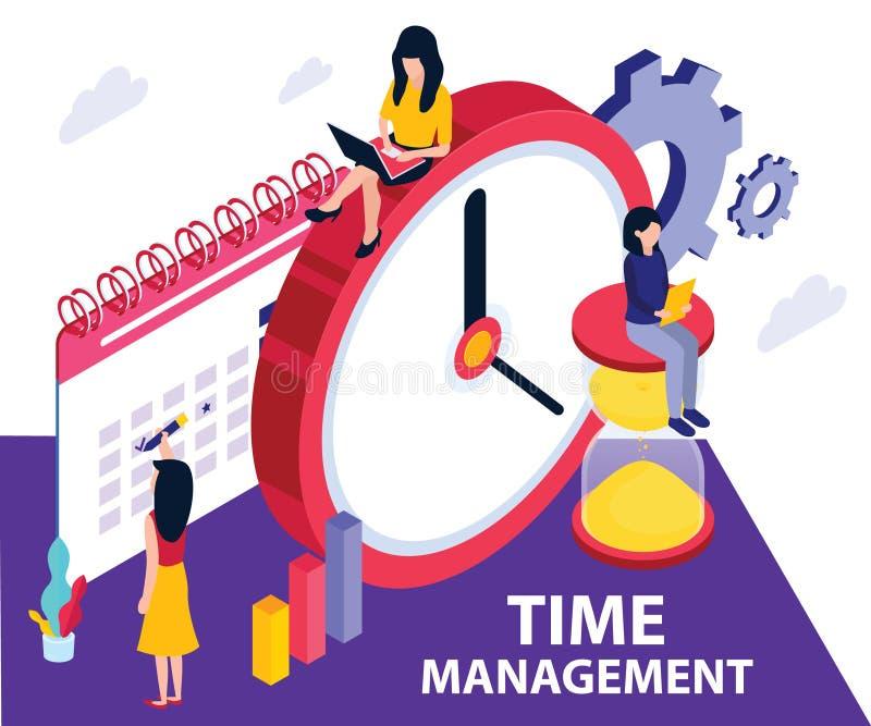 Программное обеспечение контроля времени, где они планирует где потратить время на, который дали задаче равновеликая концепция ху иллюстрация штока