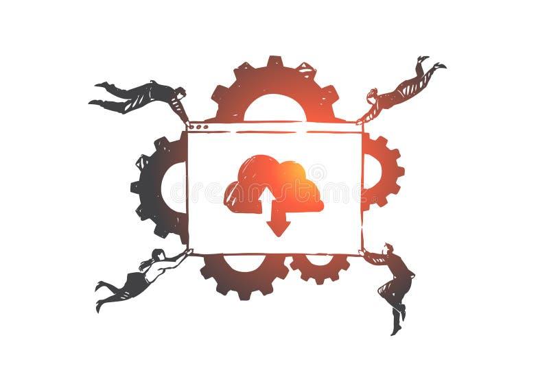 Программное обеспечение эскиз концепции обслуживания SAAS Иллюстрация вектора руки вычерченная изолированная иллюстрация штока