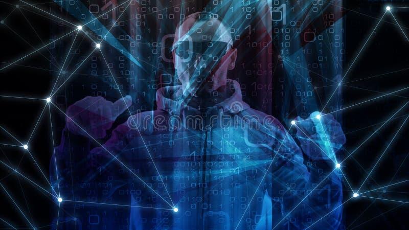 Программный код ai машинного обучения, кибер атака мира преступления кибер используя зараженный троянский вирус иллюстрация вектора