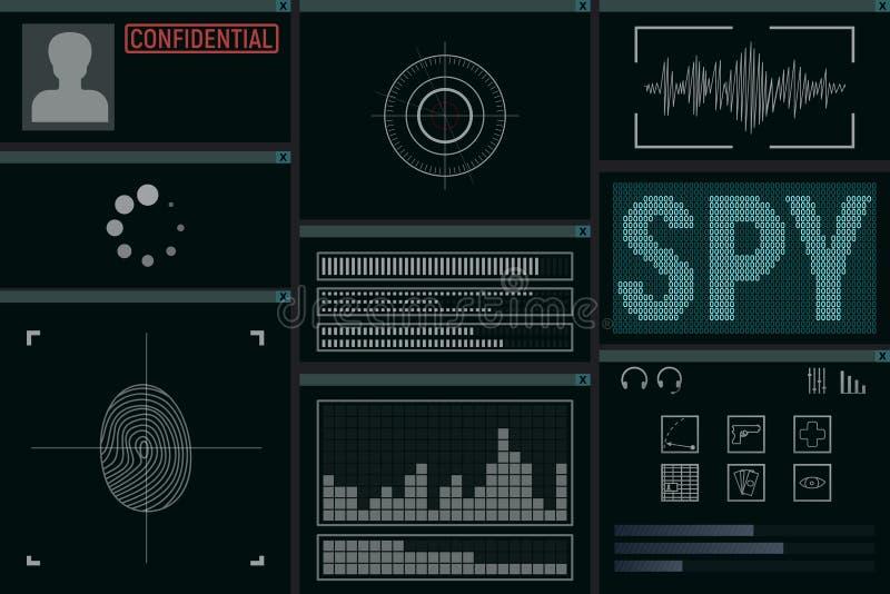Програмное обеспечение для шпионки иллюстрация вектора