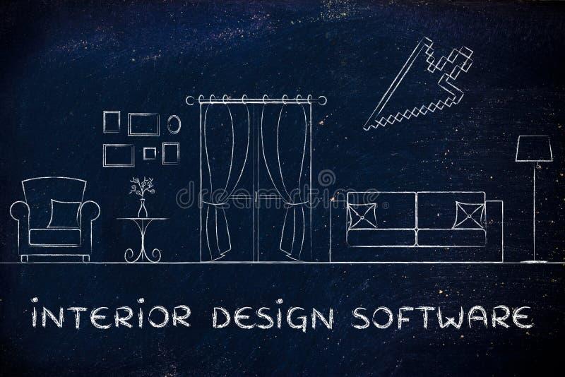 Програмное обеспечение дизайна интерьера стоковое изображение rf