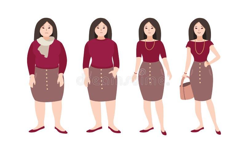 Прогрессивные шаги молодой женский изменять тела персонажа из мультфильма s Концепция потери веса через разминки фитнеса и бесплатная иллюстрация