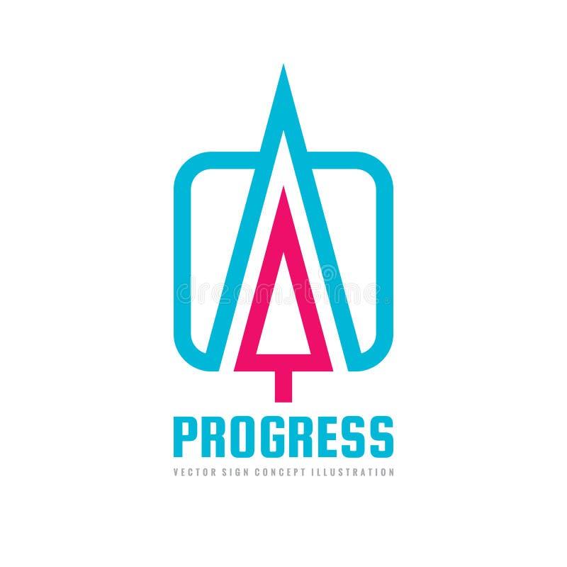 Прогресс - иллюстрация вектора шаблона логотипа концепции Знак дела абстрактной стрелки творческий Символ развития конструируйте  иллюстрация вектора