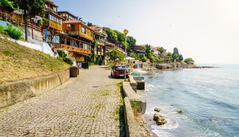 Прогулка взморья в Nessebar, Болгарии стоковые изображения rf