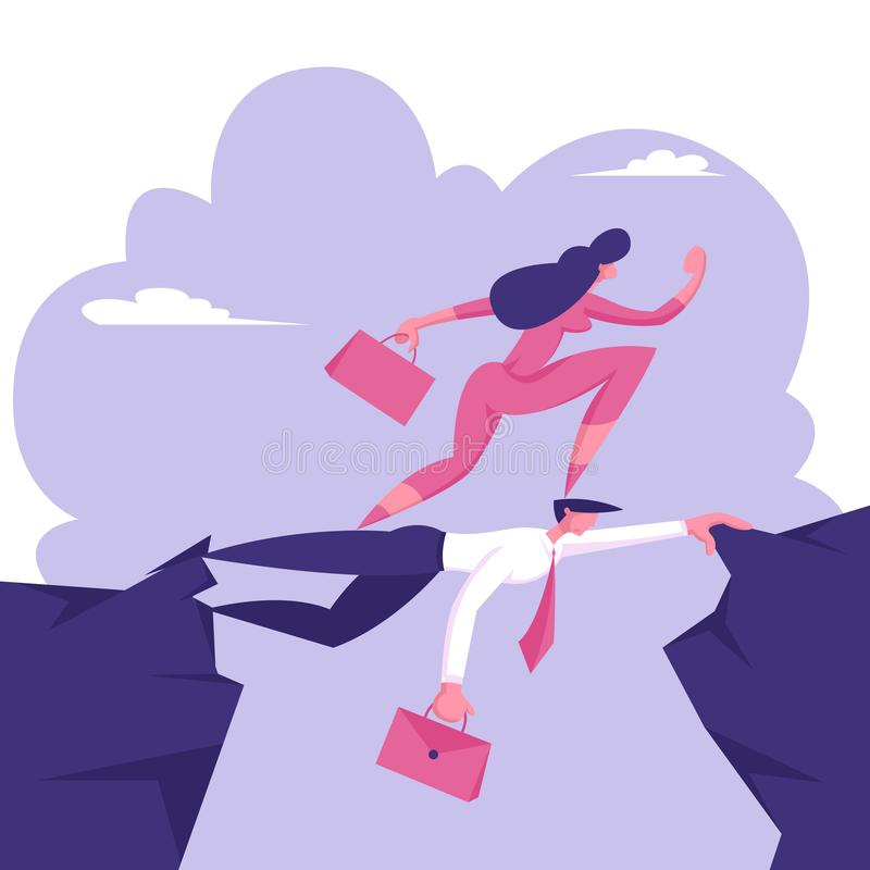 Прогулка карьериста коммерсантки на голове коллеги Концепция стопа на ничего Самый сильный выдержит Бизнес-леди иллюстрация штока