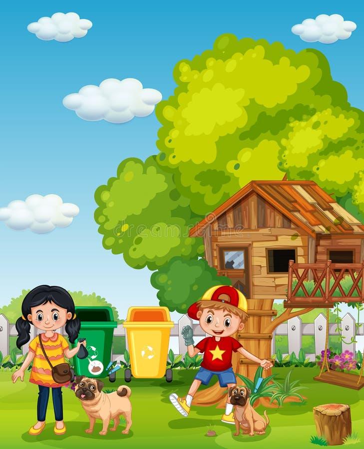 Прогулка мальчика и девушки их собака на саде иллюстрация вектора