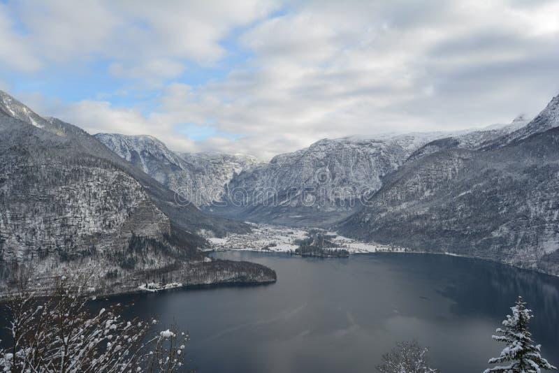 Прогулка неба Hallstatt, Австрия разветвляет зима взгляда вала снежка ели стоковые изображения