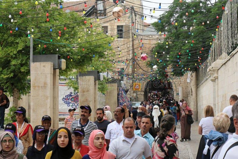 Прогулка паломничества города Иерусалима старая стоковая фотография