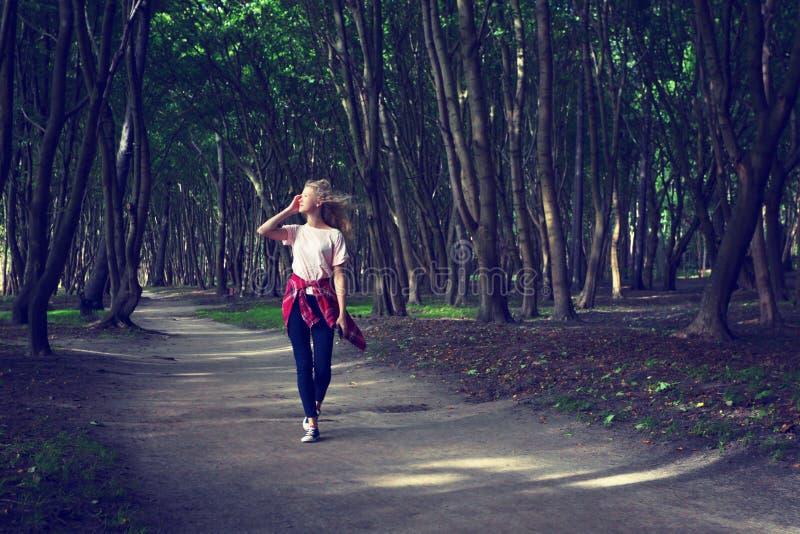 прогулка парка девушка сновидений Подкрашиванное фото стоковые фотографии rf
