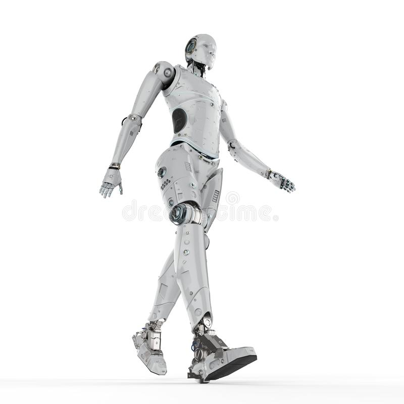 Прогулка робота гуманоида иллюстрация вектора