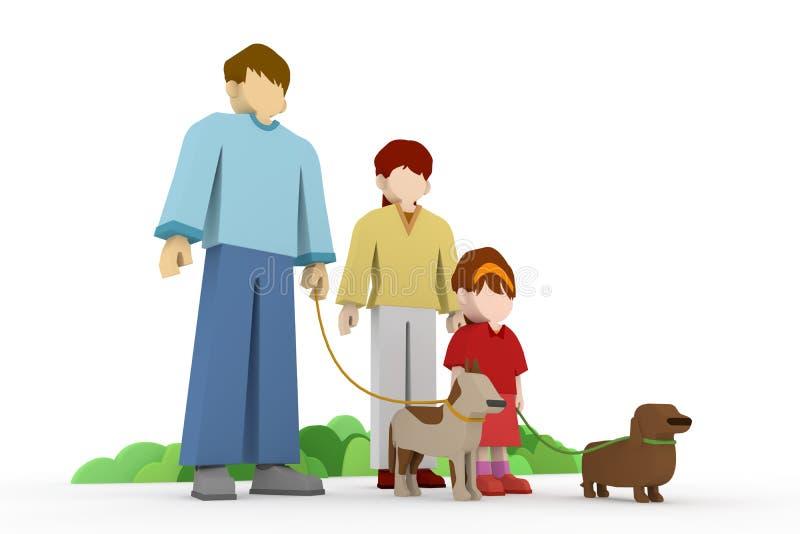 прогулка семьи иллюстрация вектора
