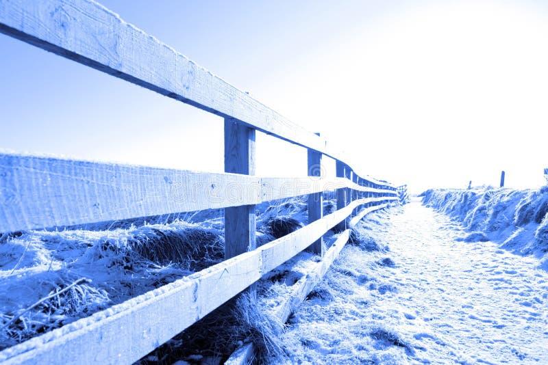 прогулка снежка путя скалы холодная покрытая ограженная стоковое изображение