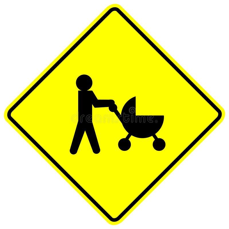 прогулочная коляска знака скрещивания младенца иллюстрация вектора