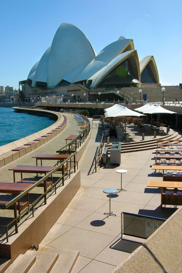 Прогулка вид сзади крыши оперного театра Сиднея, голубое небо, вертикальное стоковые фото