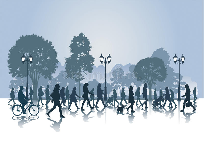 Прогулка в парке иллюстрация вектора
